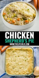 This Chicken Shepherd's Pie Recipe is a delicious twist on traditional Shepherd's Pie. It comes together quickly and easily and is an awesome way to use leftover chicken or turkey!