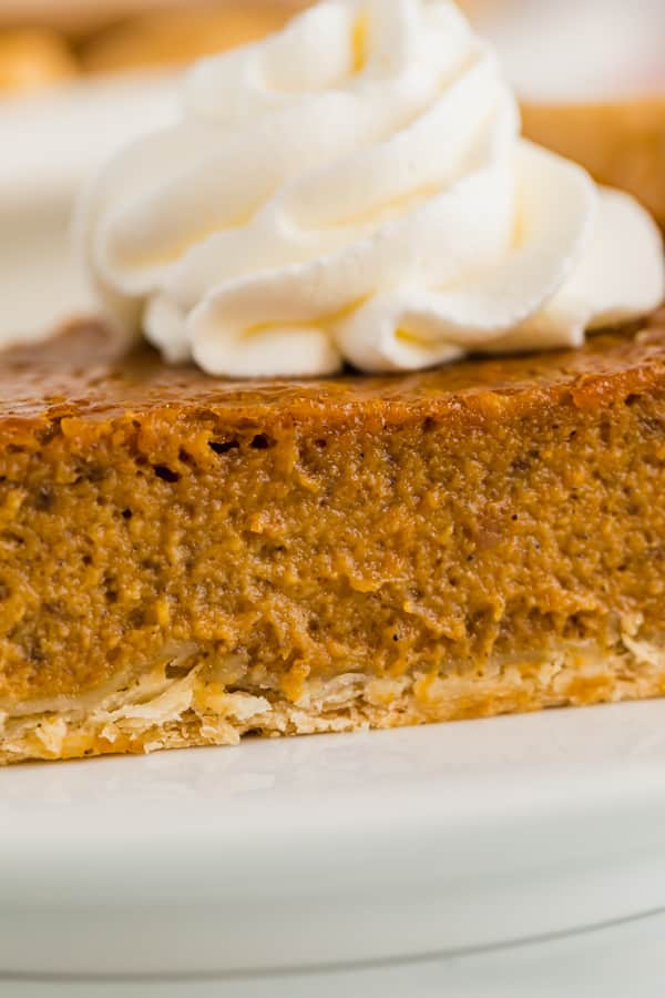 A close up image of the filling in this pumpkin pie recipe