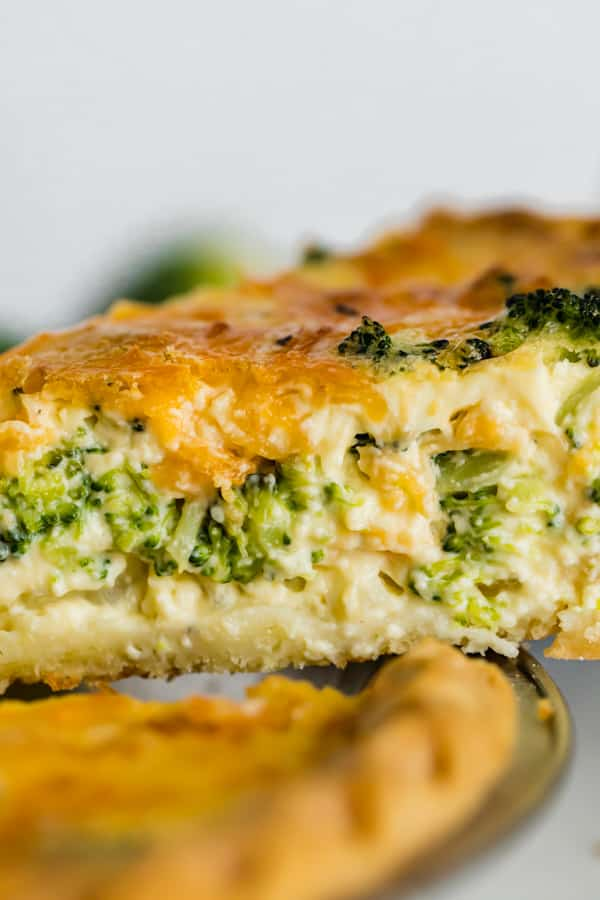 A close up view of the filling in this quiche recipe