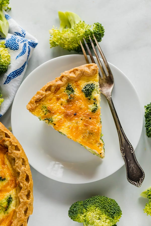 An overhead image of a slice of quiche.