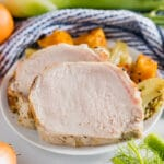 This baked Citrus and Fennel Pork Loin recipe is an extremely easy way to impress a crowd. After only a few minutes of prepping, you put it in the oven oven for a pork loin roast that's tender, juicy and bursting with flavor! This is perfect for the holidays!