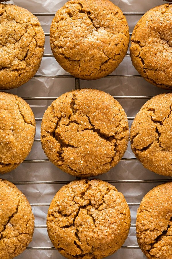 A close up overhead image of molasses cooies