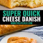 Need a fast and easy brunch option? This super quick Cheese Danish recipe made with crescent rolls is a total crowd pleaser! With minimal ingredients you can make a cream cheese filling full of flavor, you'll make this again and again. It's also a great make ahead dish for the holidays (like Christmas Morning!).