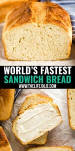 Baking bread doesn't have to be intimidating and this easy, soft bread recipe for the World's Fastest Sandwich Bread is proof. Get ready to never want to buy store bought white bread again- and you don't even need a bread machine!