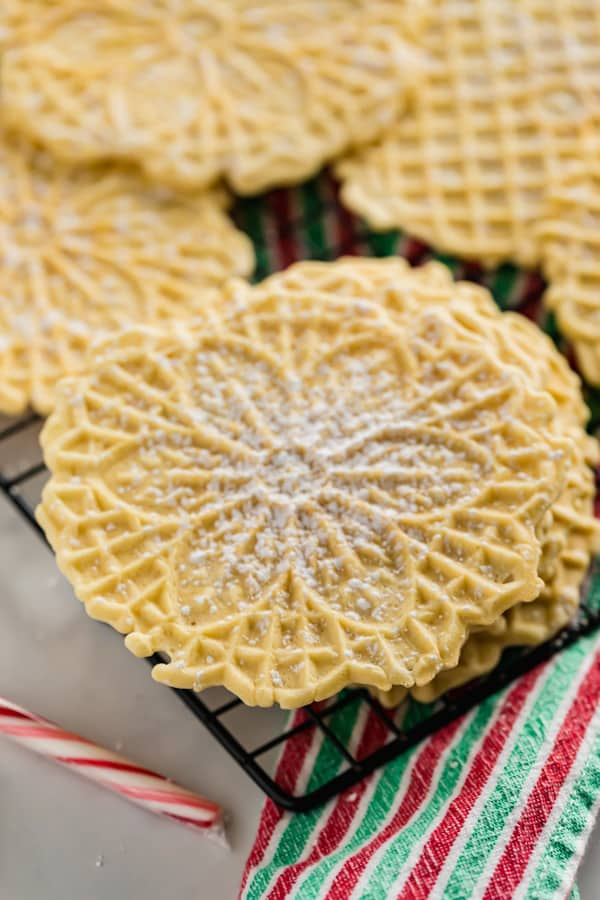 A side angle image of a stack of pizzelles