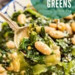 An images of a spoonful of beans and greens.