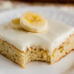 Banana Bars are a simple and delicious dessert the whole family will love! These have a light and moist crumb with cream cheese frosting in a 9x13 pan, you'll want to make this easy recipe again and again.