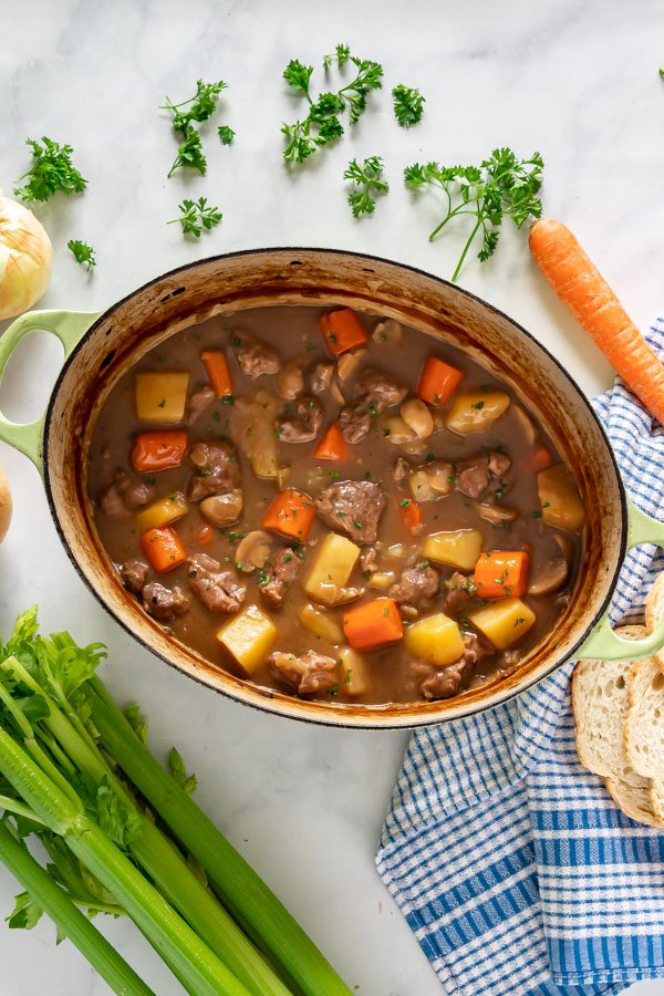 An overhead image of a pot of this lamb stew recipe