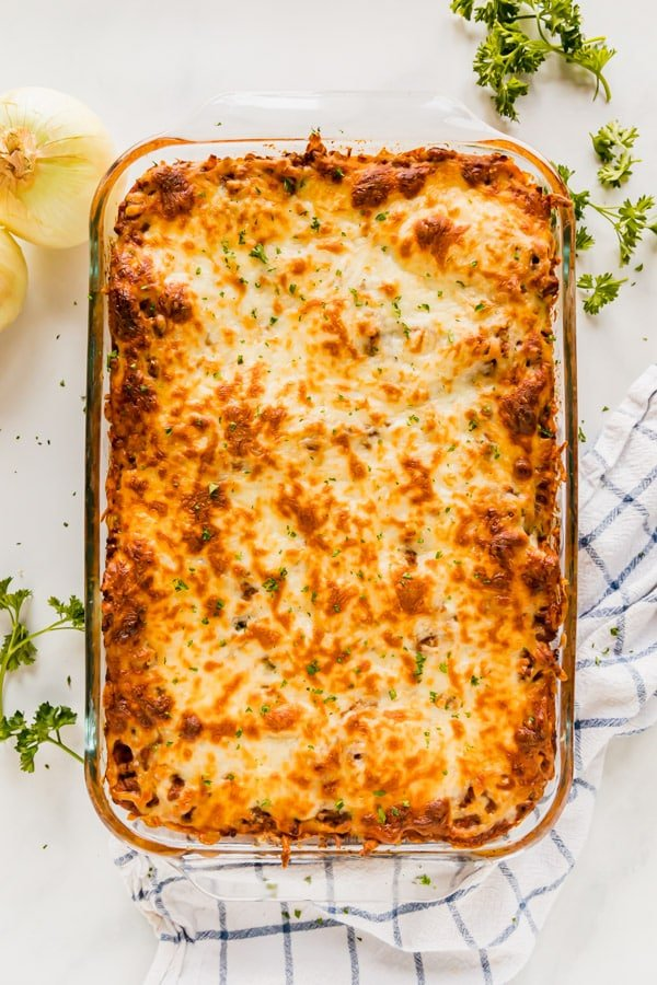 An overhead image of a pan of baked spaghetti