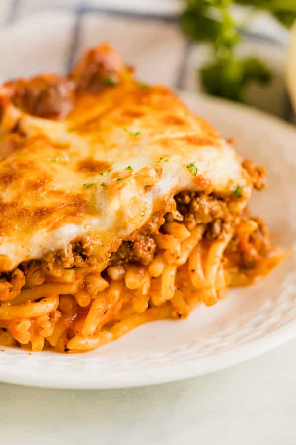 A close up photo of the inside of the baked spaghetti recipe