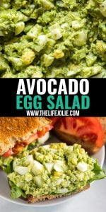 Avocado Egg Salad is a light lunch that's as healthy as it is delicious. Full of fresh ingredients and great flavor, this is a lunch recipe that's great on a sandwich or served on a bed of lettuce. And best of all, it's perfectly creamy without mayonnaise- that's right, absolutely no mayo!