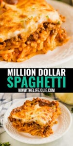 Need a proven crowd-pleaser? Make this Million Dollar Spaghetti recipe! This meaty, cheesy Italian pasta casserole is so easy and delicious your family will be fighting for seconds!
