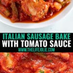 This Easy Italian Sausage Bake with onions and peppers in red sauce is a simple and delicious recipe that makes an awesome appetizer. You can throw it together in minutes and put it in the oven and can even double it for a crowd! Want it for a meal? Just serve over pasta!
