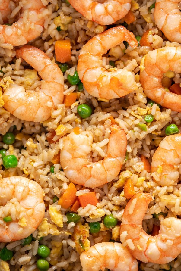 An overhead close up image of shrimp fried rice.