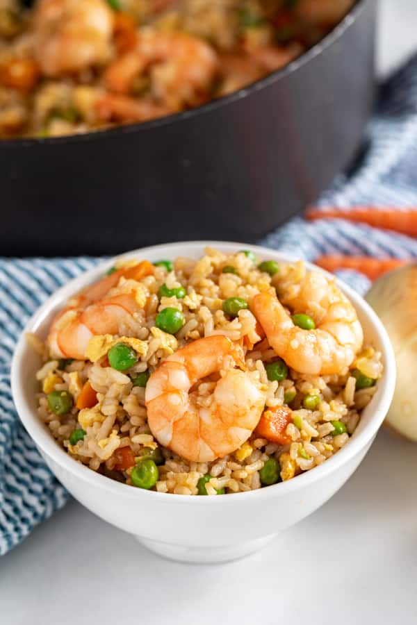 A bowl of fried rice with shrimp