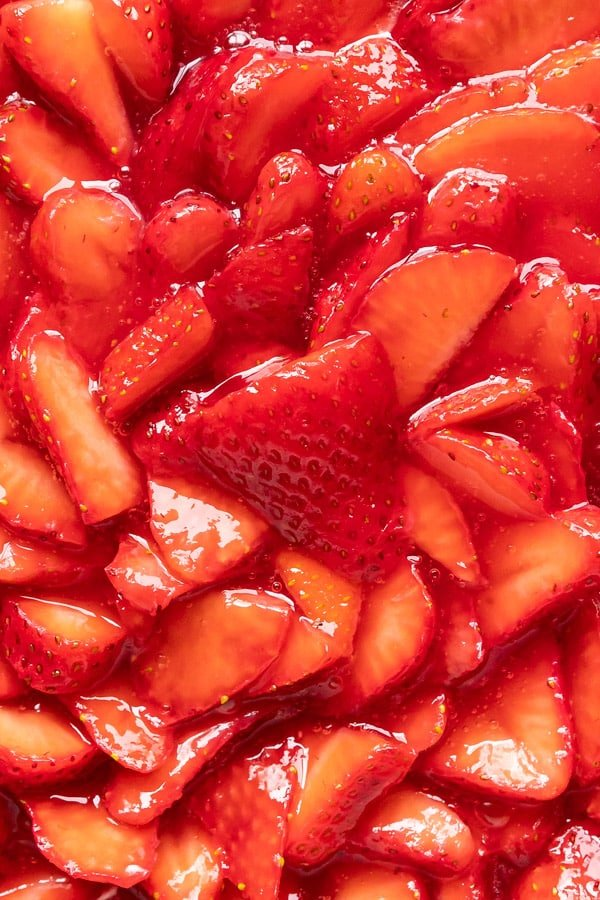 A close up overhead image of the strawberry topping.