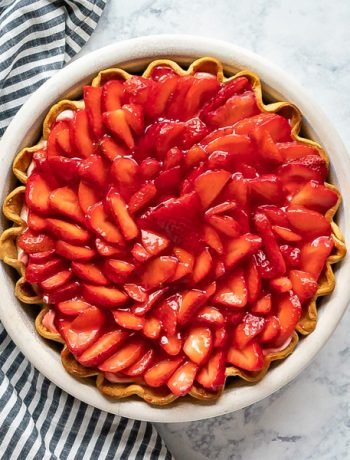 A square image of strawberry pie.