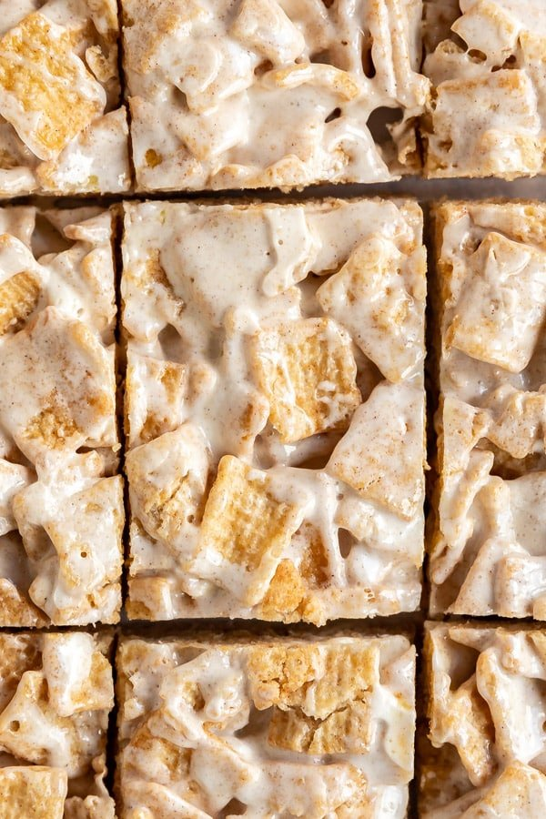 An close up overhead image of rows of treat bars lined up that were just cut.