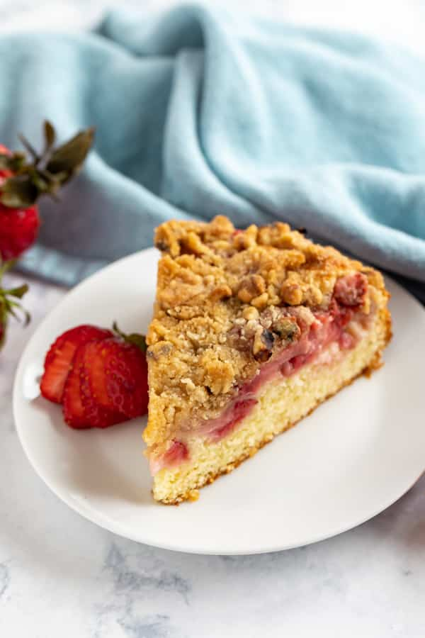 A slice of this fresh strawberry recipe on a plate.