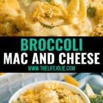 This homemade baked Broccoli Mac and Cheese recipe is about to be your new favorite recipe for Meatless Monday! It's creamy, delicious and seriously easy to make!