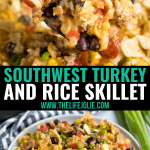 This Southwest Ground Turkey and Rice Skillet recipe is a deliciously easy throw-together dinner. It's full of great flavor with a kick to it and is a healthy way to mix things up in your dinner rotation!