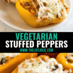Vegetarian Stuffed Peppers are a healthy, satisfying meal that comes together quickly! This easy weeknight dinner recipe is perfect for Meatless Monday and full of rice, veggies, cheese and Italian-inspired flavors!