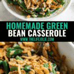 A long image of homemade green bean casserole- the top image is a close up of a plate of this casserole and the bottom is a spoon in the pan of the casserole with a heap of it in the spoon.