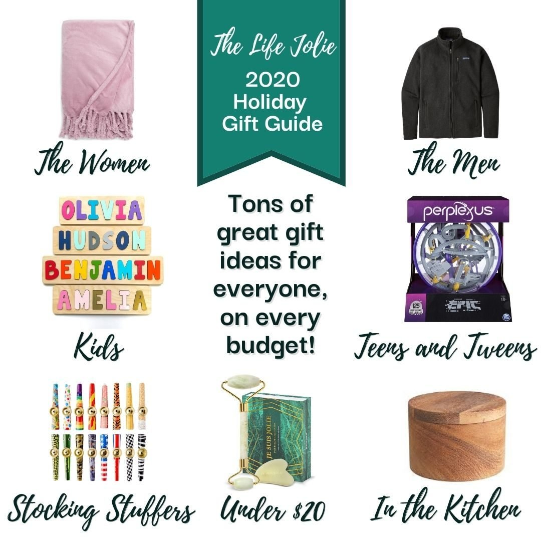 A square promo image for the 2020 gift guide featuring categories for men, women, children, teens, kitchen, gifts under $20 and stocking stuffers