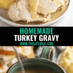 Nothing takes a Thanksgiving turkey dinner to the next level like the best Homemade Turkey Gravy! This can be made from drippings or without drippings- it's deceptively easy to make and this recipe can even be made ahead!