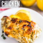 A square image of Greek Yogurt Roasted Chicken Thighs.